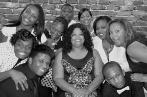 """Connie Drumond,        and the cast of     """"Rumors"""""""