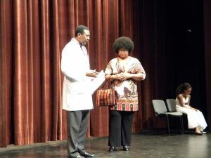 """Linwood Jackson, as Dr. Anderson Connie Drummond, as Aunt Bessie Davis In my first role ever in her first play """"North Philly Billies"""" Here with Maya Berlardo, as young Mya"""