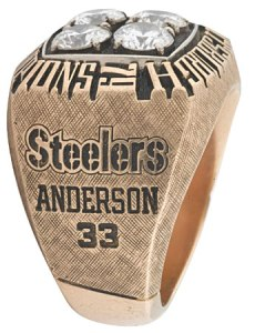 The 1979 championship player's ring presented to Pittsburgh Steelers rookie running back Anthony Anderson
